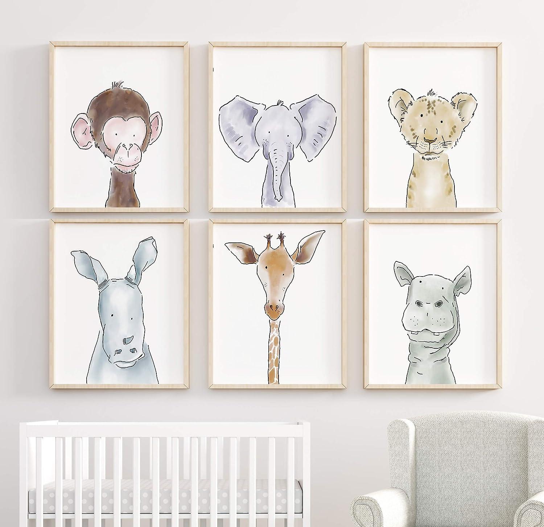 Safari Nursery Decor Jungle Baby Animals 6 Prints for Nursery Decor Art