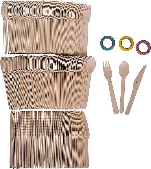 Roots Pack - Cubiertos Desechables de Madera (300 Uds) Biodegradables, Compostables y Ecológicos - 100 Tenedores, 100 Cucharas y 100 Cuchillos - Regalo: Cinta Washi (3 Rollos): Amazon.es: Hogar