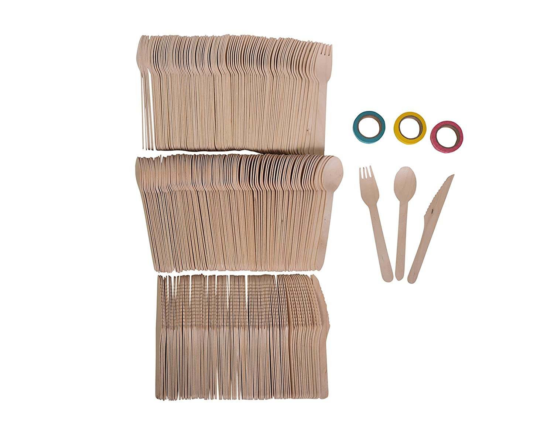 Roots Pack Einweg Biologisch Holzbesteck Sets - 300 Stü ck: 100 Gabeln, 100 Lö ffel, 100 Messer. Geschenk: Washi Tape (3 Rollen)