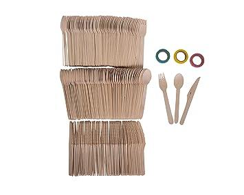 Roots Pack - Cubiertos Desechables de Madera (300 Uds) Biodegradables, Compostables y Ecológicos