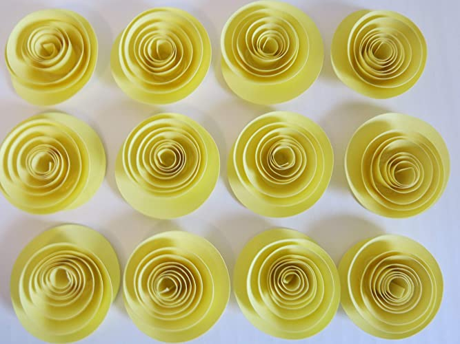 Amazon Com Set Of 12 Pastel Yellow Small Paper Flowers 1 5 Spiral