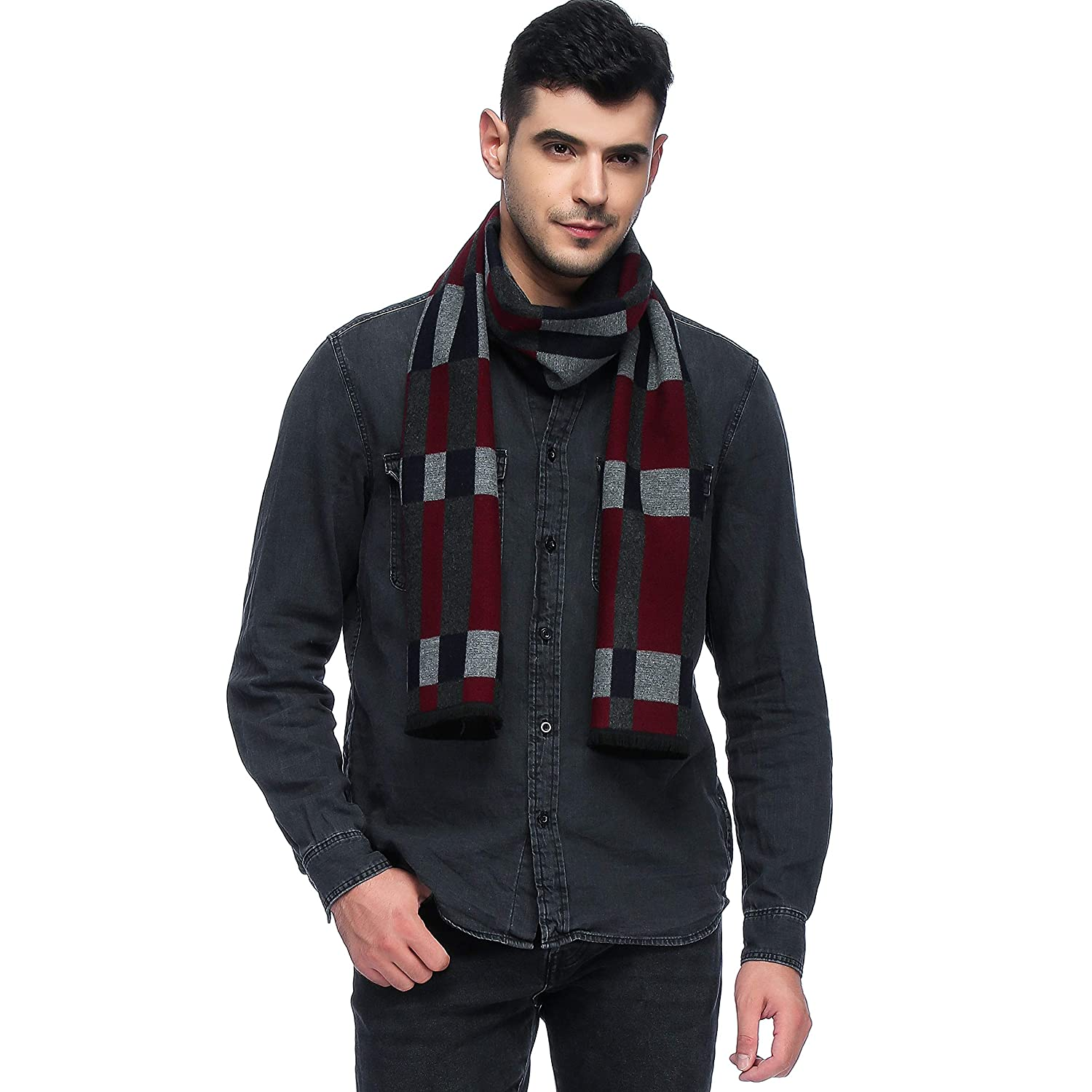 HOYAYO Mens Classic Cashmere Warm Long Winter Scarf Various Colors