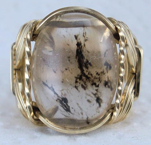 7c0cac4e504a5 Amazon.com: Black Tourmaline Rutilated Quartz Gemstone Ring Mens ...