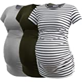 Smallshow Women's Maternity Tops Side Ruched Tunic T-Shirt Pregnancy Clothes
