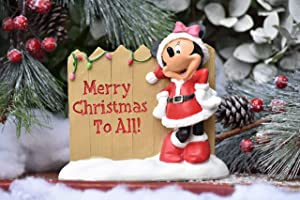The Galway Company Disney Minnie Mouse Dressed as Santa says Merry Christmas to All, Outdoor Garden Statue, Classic Disney Collection, 6 Inches Tall x 7 Inches Long. Hand-Painted,