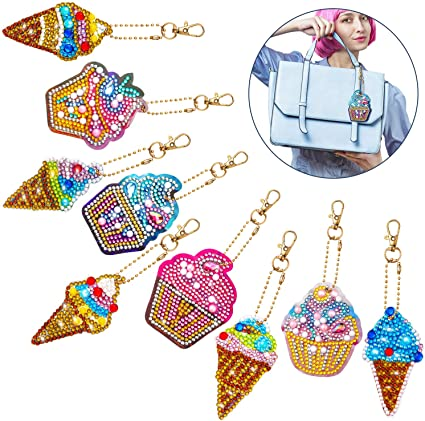 5 Pcs Diamond Painting Stickers Keychains Kits for Art Craft Key Ring Phone Charm Bag Decor Christmas Series
