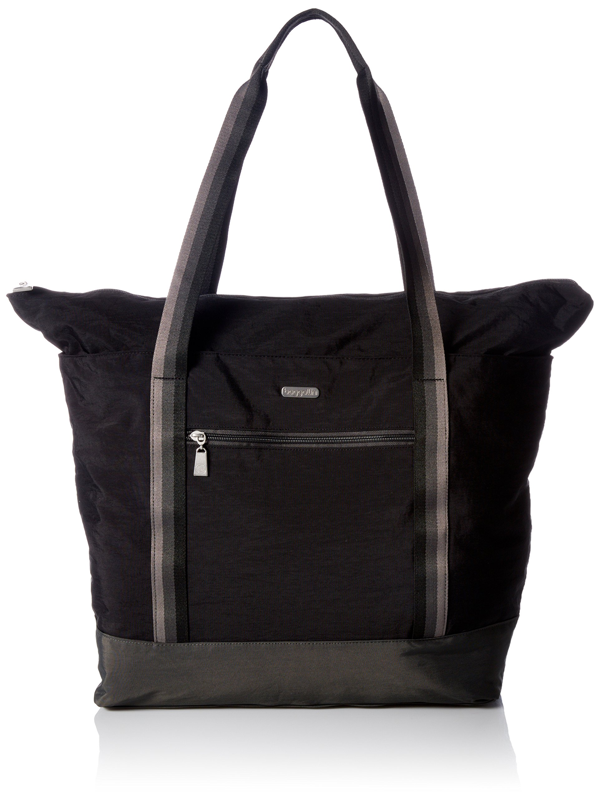 Baggallini Women's Fine Line Carryall, Black with Sand Lining