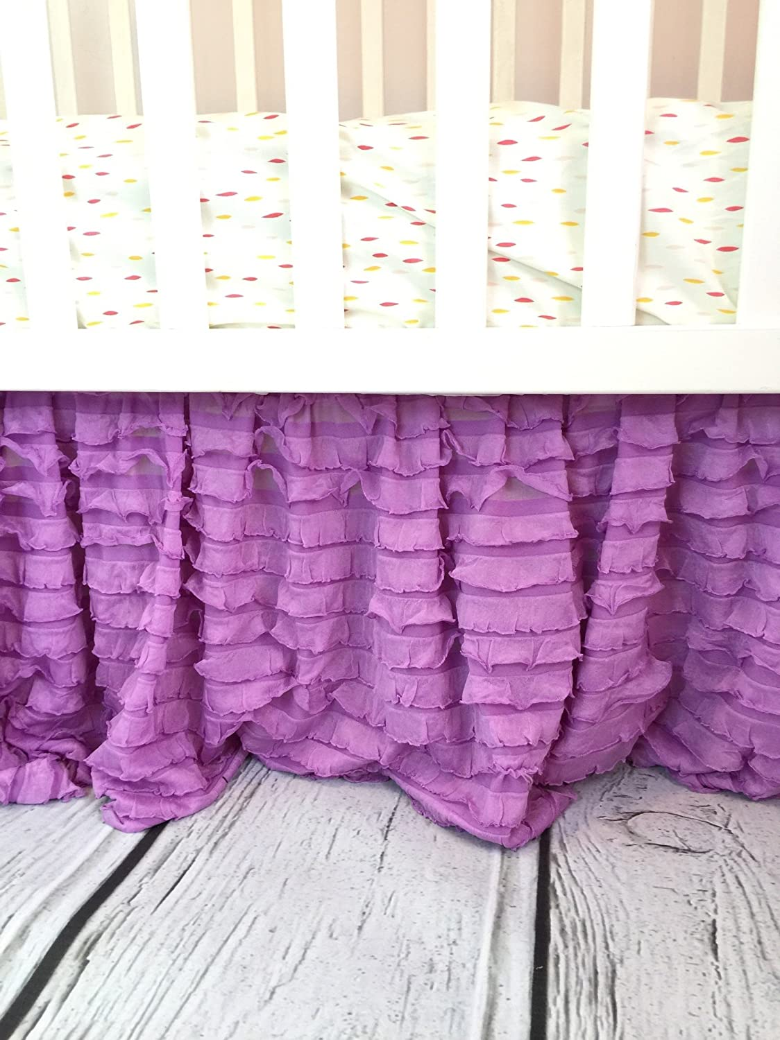 Light Coral Crib Skirt for Baby Girl Nursery Bedding Dust Ruffle A Vision to Remember