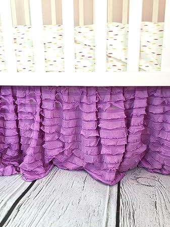 Lilac Purple Crib Skirt For Baby Girl Nursery Bedding Dust Ruffle