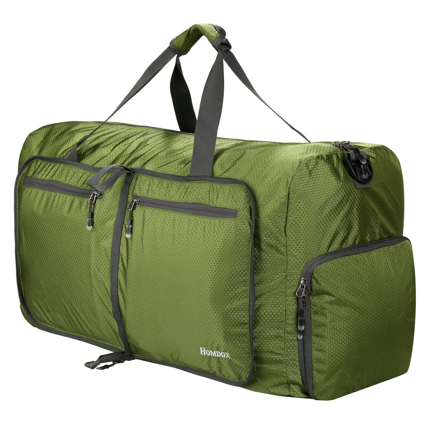 Homodox Foldable Duffle Bag, Extra Large Extra Strong Storage Bag, Shopping and Travel Bag (80L - Dark Green)