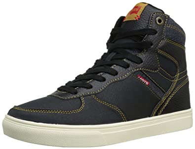 Levis Men's Jeffrey Hi Casual Fashion Sneaker, Black/Indigo, ...