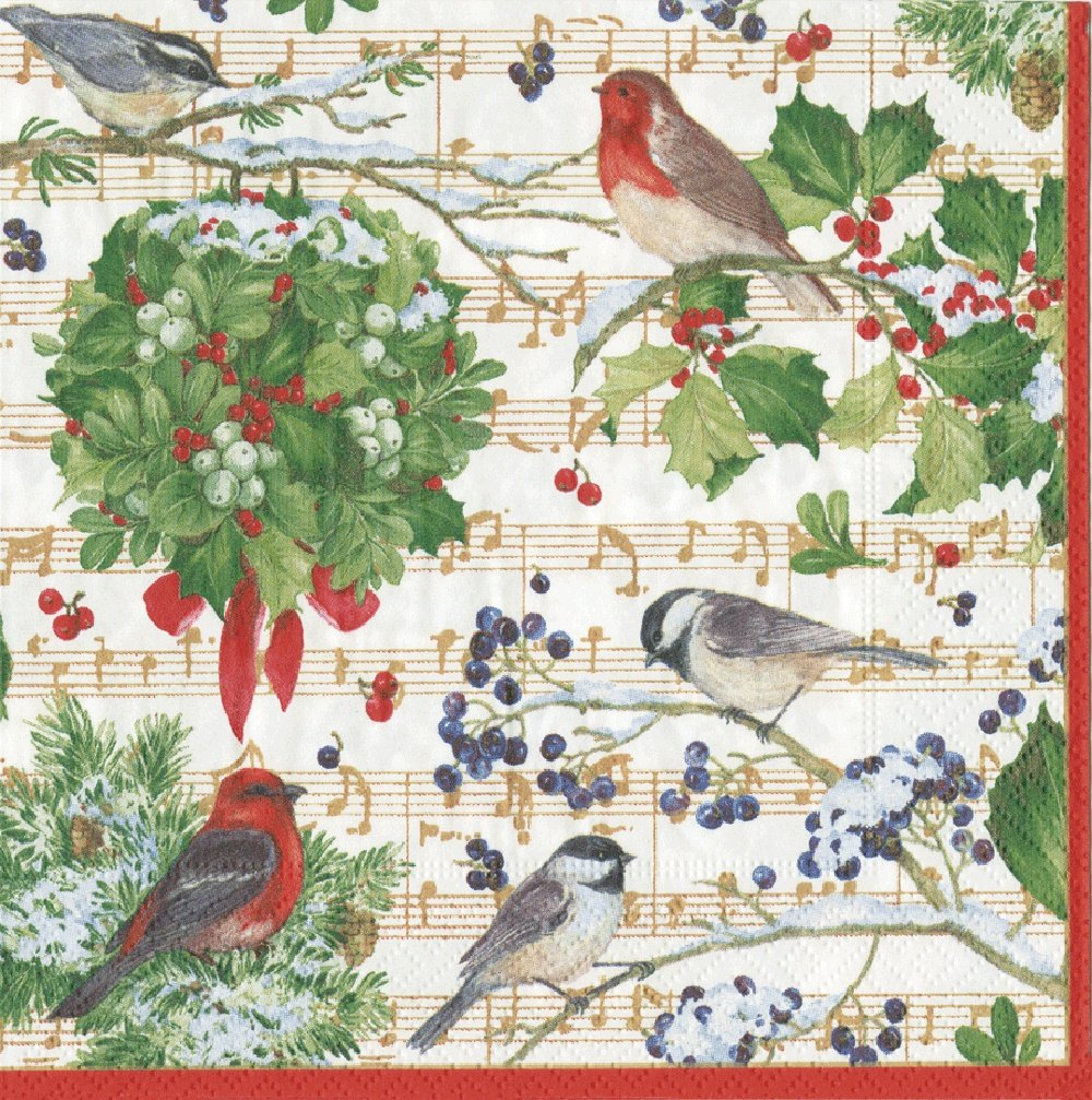Entertaining with Caspari Winter Song Luncheon Napkins, Green, Pack of 20