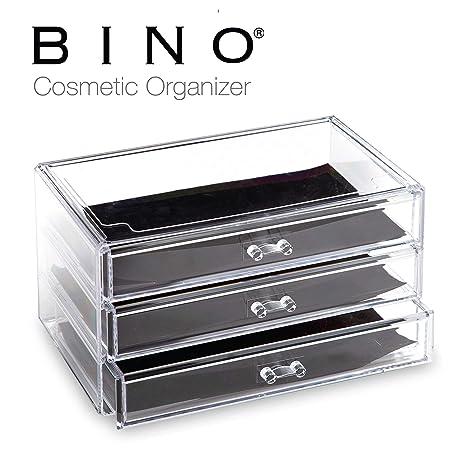 BINO 3 Drawer Acrylic Jewelry and Makeup Organizer, Clear Cosmetic  Organizer Vanity Storage Display Box Make Up Organizers and Storage Makeup  Stand