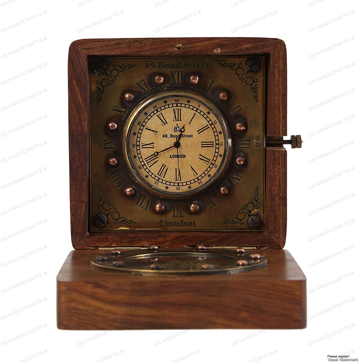 World Brass Magnetic Nautical Compass in wooden Box Gift Decor