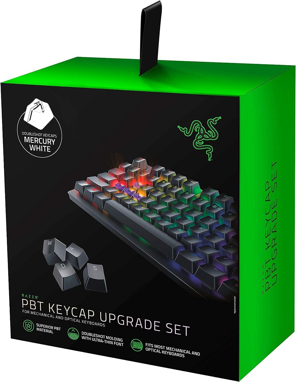 Razer Doubleshot PBT Keycap Upgrade Set for Mechanical & Optical Keyboards: Compatible with Standard 104/105 US and UK layouts - Mercury White