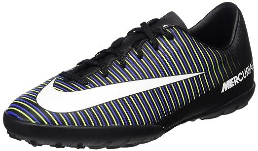 bf792a2bcc0d Nike Jr. MercurialX Vapor XI TF Turf Soccer Cleats (Black, Green, Blue