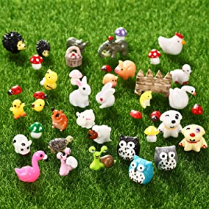 70 Pieces Mini Animals Miniature Ornament Kit Fairy Animal Figurines Garden Animals Miniature Micro Landscape Accessories for DIY Dollhouse Plant Decor, Snail, Tortoise, Flamingo, Honeybee, Bunny