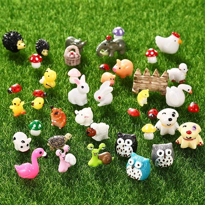 70 Pieces Mini Animals Miniature Ornament Kit Fairy Animal Figurines Garden Animals Miniature Micro Landscape Accessories for DIY Dollhouse Plant Decor, Snail, Tortoise, Flamingo, Honeybee, Bunny