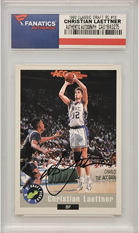 Christian Laettner Duke University Autographed 1992 Classic Draft Picks  Promo Rookie  13 Card - Fanatics c549dcad9
