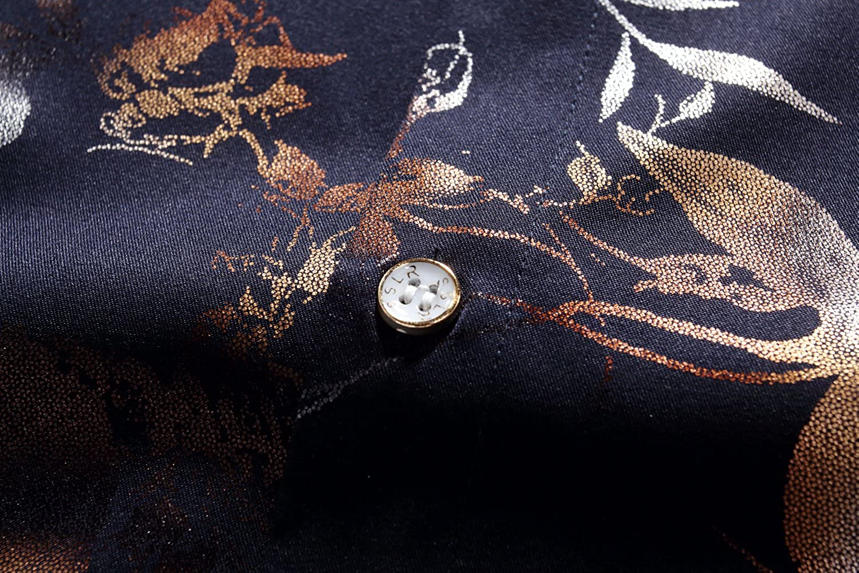 SSLR Mens Floral Button Down Regular Fit Casual Short Sleeve Shirt