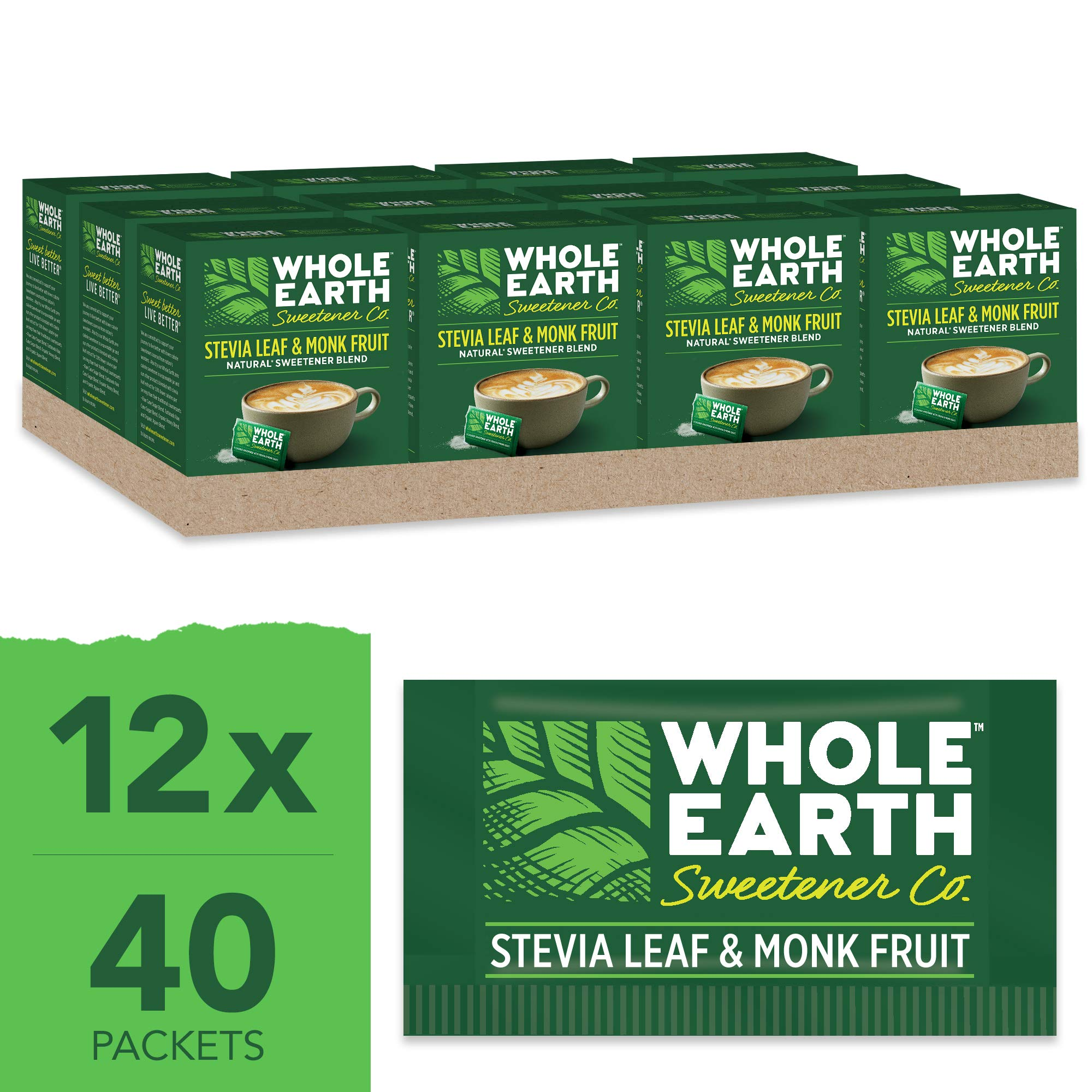 WHOLE EARTH SWEETENER CO. Stevia & Monk Fruit Sweetener, Erythritol Sweetener, Sweet Leaf Stevia Packets, Sugar Substitute, Natural Sweetener, 40-Count (Pack of 12) by Whole Earth Sweetener Company