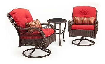La Z Boy Outdoor Bristol Resin Wicker Bistro Patio Furniture Set (Scarlet  Red