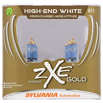 SYLVANIA - H11 (64211) SilverStar zXe GOLD High Performance Halogen Headlight Bulb - Headlight & Fog Light, Bright White Output, Best HID Alternative, Xenon Charged Technology (Contains 2 Bulbs): Home Improvement