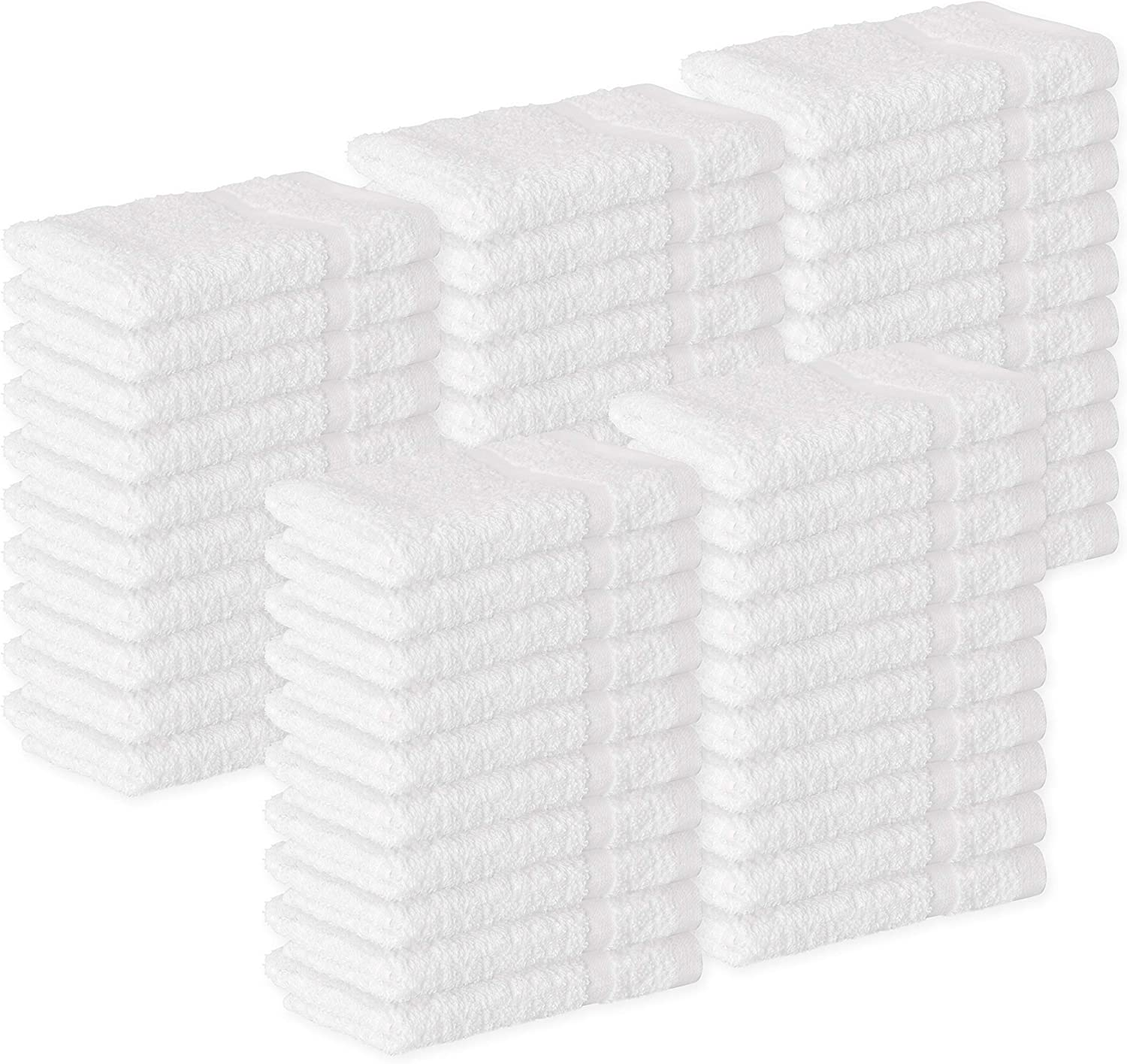 GREEN LIFESTYLE Towels Cotton Washcloths, 48 - Pack, White 12 x 12 inches