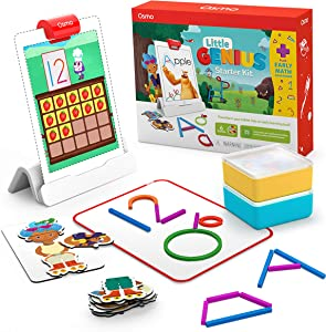 Osmo - Little Genius Starter Kit for iPad + Early Math Adventure - 6 Hands-On Educational Games - Ages 3-5 - Counting, Shapes, Phonics & Creativity iPad Base Included (Amazon Exclusive)