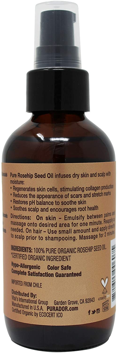 PURA DOR Rosehip Seed Oil 100% Pure & USDA Organic For Face, Hair, Skin & Nails, 4 Fluid Ounce by PURA DOR: Amazon.es: Belleza