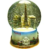 Souvenirs of France - Glass Paris Monuments Snow Globe - Height 5.51""