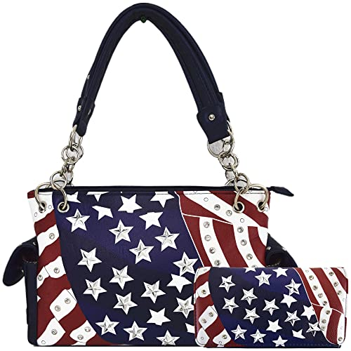 American Flag Stars And Stripes Concealed Carry Purse Women Studded