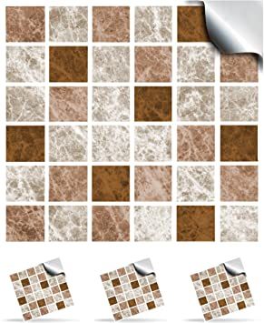 30 Chocolate Truffle Self Adhesive Mosaic Wall Tile Decals For