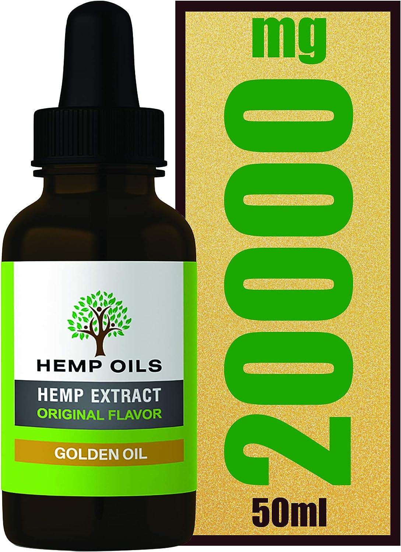 Botella grande de 50 ml – 40% 20000 mg (dorado) extracto de cáñamo – Aceite de cáñamo de alta resistencia – 5 meses de suministro [informe de laboratorio proporcionado a petición]
