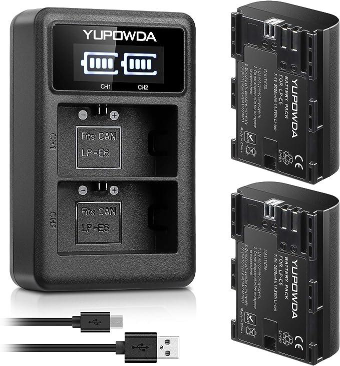 LP-E6 YUPOWDA Paquete de batería de reemplazo (2-Pack) y Cargador Dual LED Inteligente para Canon LP-E6,LP-E6N y Canon EOS 5D Mark II/III/IV, EOS 5DS, EOS 5DS R, EOS 6D, EOS 7D, EOS