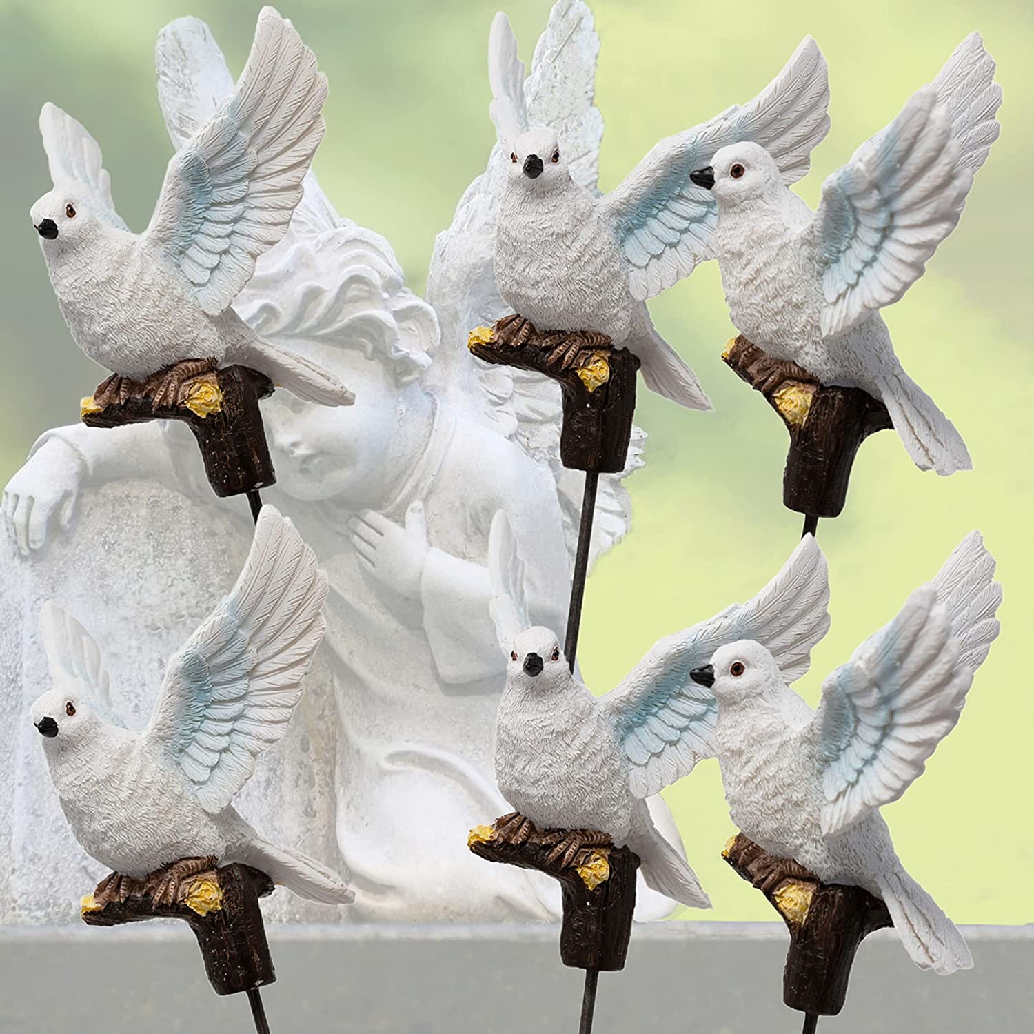 BANBERRY DESIGNS White Dove Garden Decorations - Set of 6 Doves on Sticks Memorial Stakes Yard Ornaments - Peace and Hope Bird Figurines