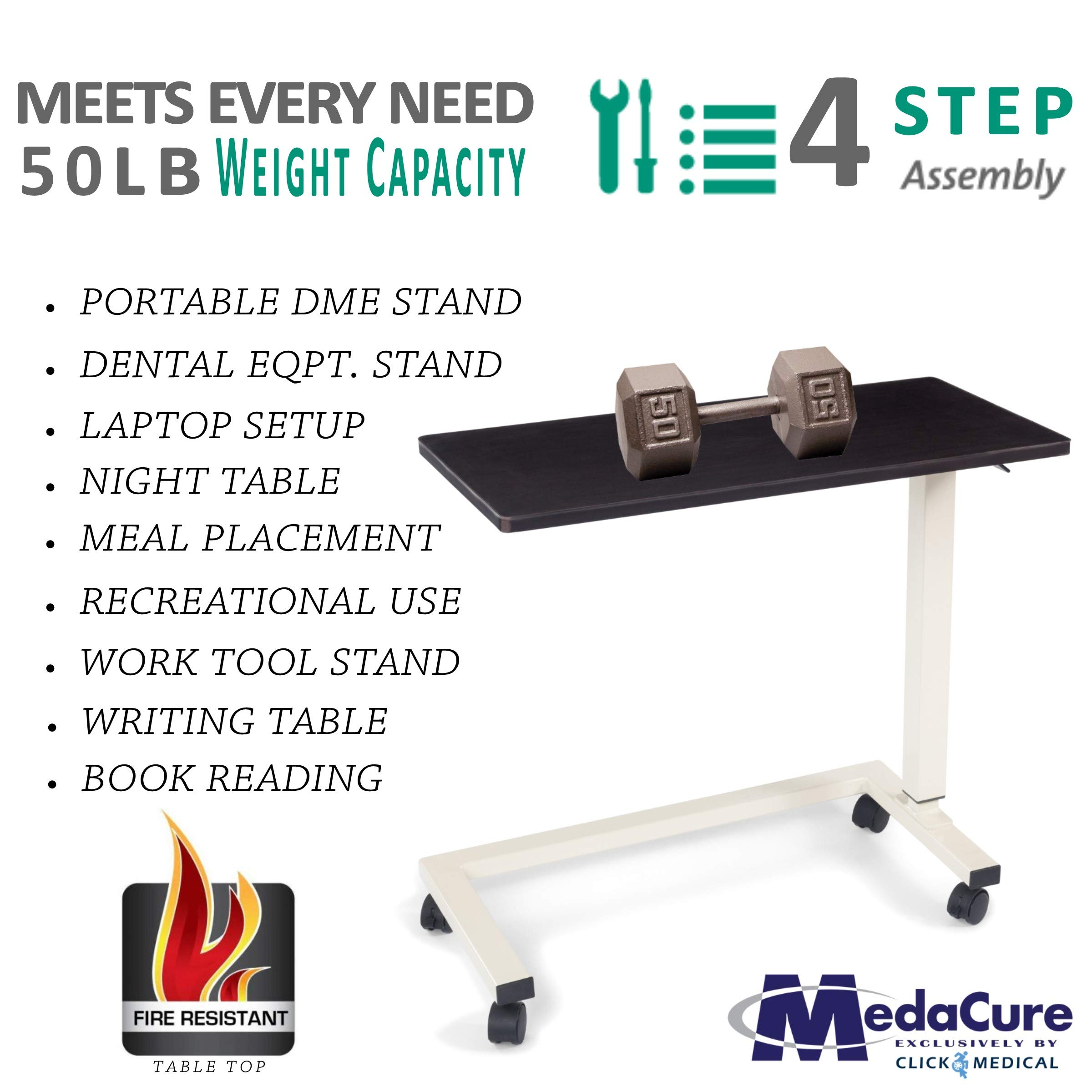 Medical Height Adjustable Overbed Table - Flame Resistant and Anti-Spill Rim - Heavy Duty Steel Frame and Swivel Locking Casters for Home, Hospital,Laptop, and Breakfast– 50lb Weight Capacity. (Oak) by Medacure (Image #2)