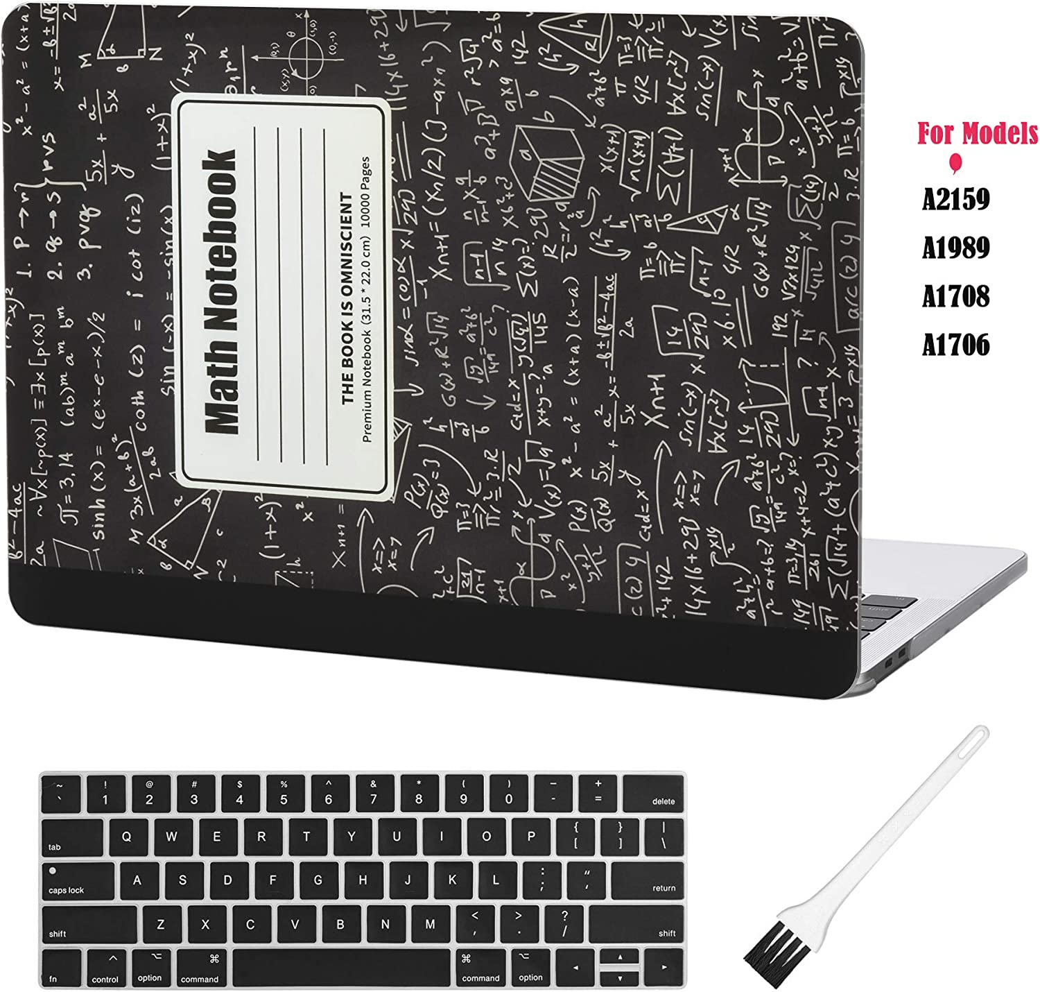 Case Star MacBook Pro 13 Case Laptop Plastic Hard Case Cover MacBook Pro 13 Inch Case New Models A1706 A1708 A1989 A2159 2019 Case Keyboard Cover and Anti-dust Brush (Math Notebook)