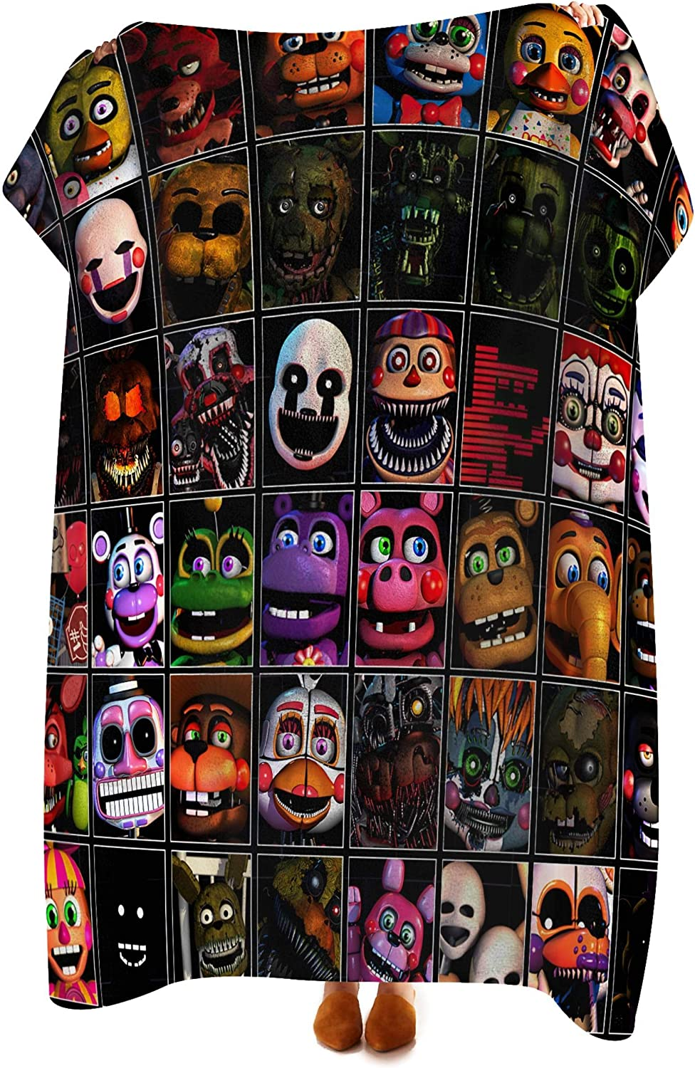 VASHU Five Nights at Freddy's Flannel Blanket Super Soft Lightweight Fluffy Throw Microfiber Bedspreads for Bed Couch Sofa 50x40inch