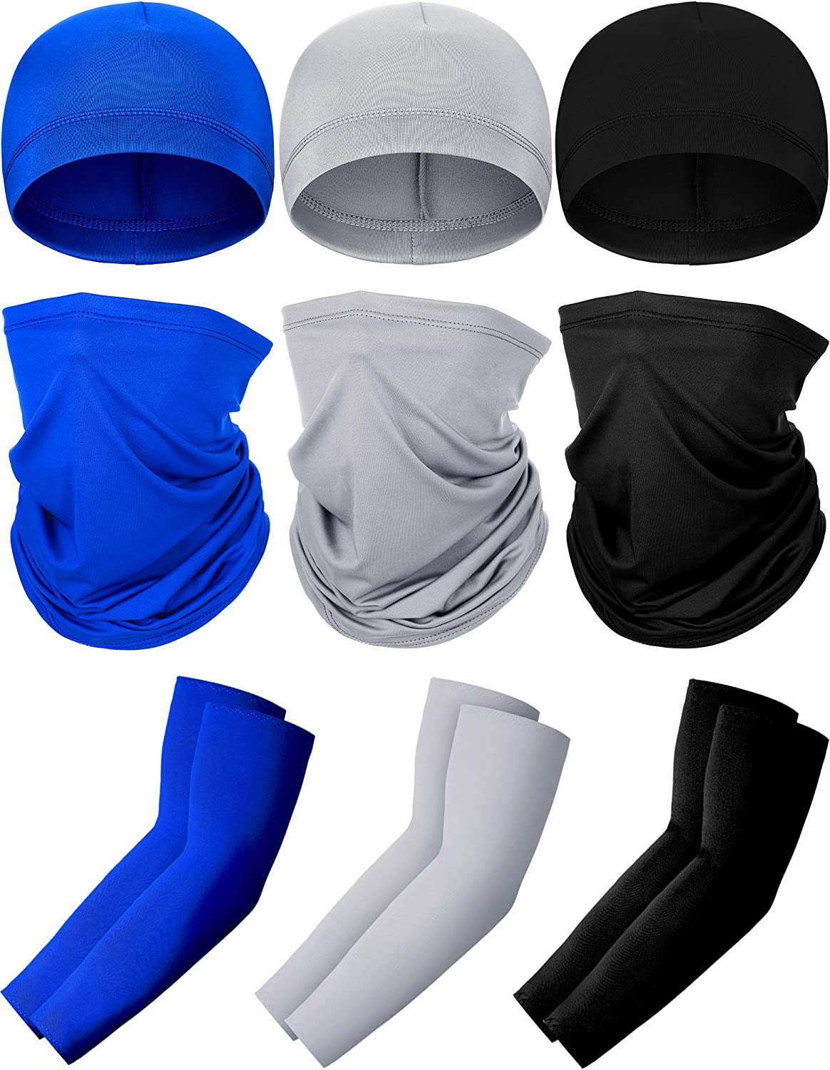 3 Set UV Protection Neck Gaiter Face Cover Cooling Arm Sleeve Skull Cap Helmet Liner for Women Men