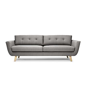 Scandinavian Design Come Back Canapé Places Tissu Gris X - Canapé 3 places en tissu