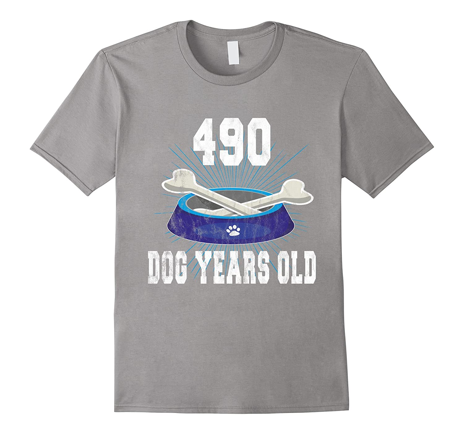 490 Dog Years Old | Funny 70th Birthday Tee For Dog Lovers-TH