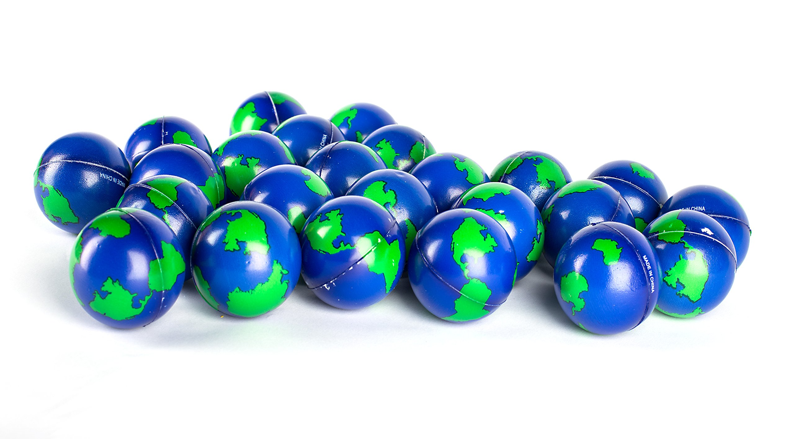 Bulk Lot of 2 Dozen World Stress Balls Earth Stress Relief Toys Therapeutic Educational Balls 24 Globe Squeeze 2 '' Stress Balls