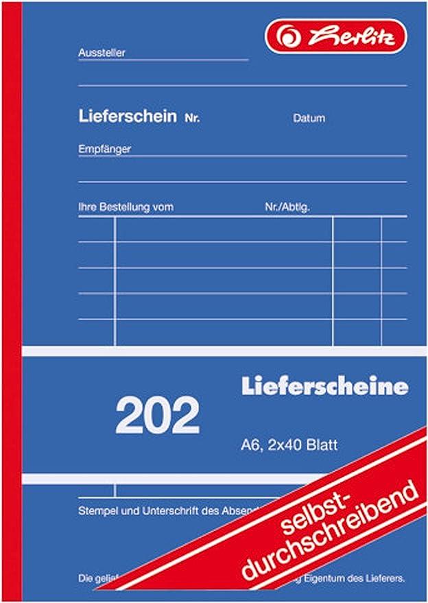 Herlitz Lieferscheinbuch 202 Selbstdurchschreibend A6 2 X 40 Blatt Bürobedarf Schreibwaren
