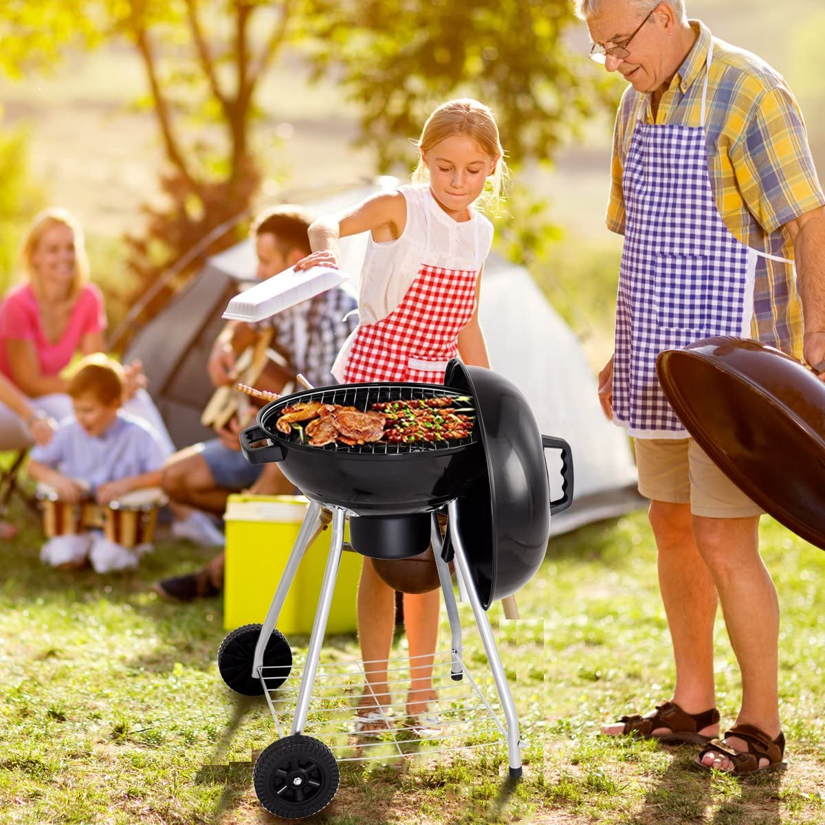 HAPPYGRILL Outdoor BBQ Grill Portable Barbecue Charcoal Grill Oven with Wheels for Patio Backyard Party