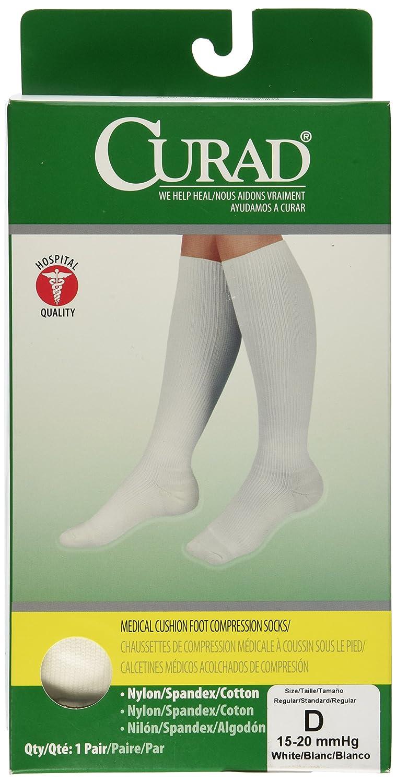 0775b2fae1 Amazon.com: Medline Curad Cushioned Compression Socks, White, D: Health &  Personal Care