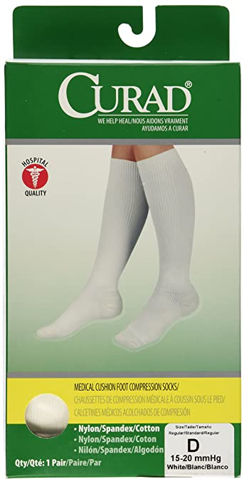 Medline Curad Cushioned Compression Socks, White, D