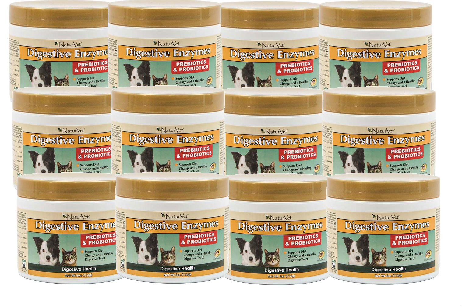 NaturVet DIGESTIVE ENZYMES & PROBIOTICS Healthy Digestion Dogs & Cat 4oz 12PACK