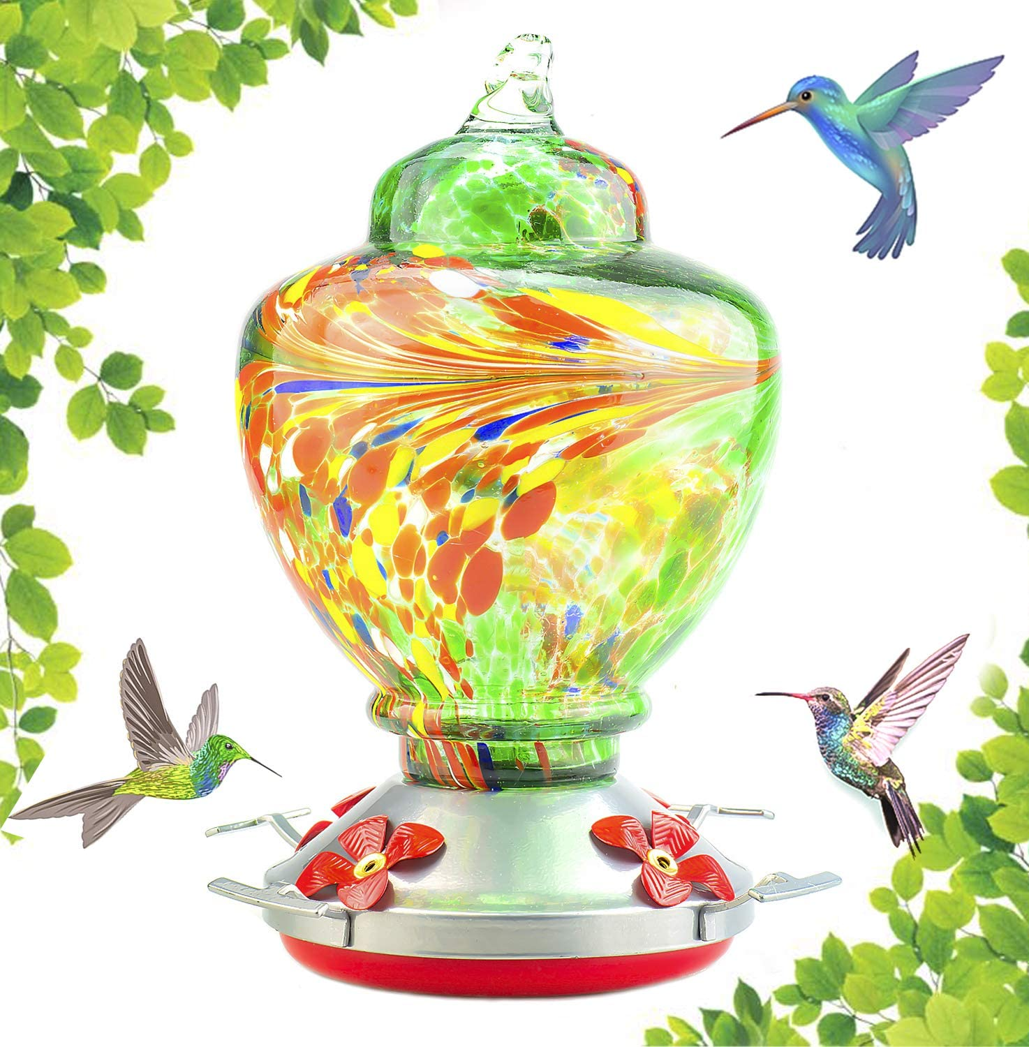 Hummingbird Feeder with Perch - Hand Blown Glass - Green - 38 Fluid Ounces Hummingbird Nectar Capacity Include Hanging Wires and Moat Hook