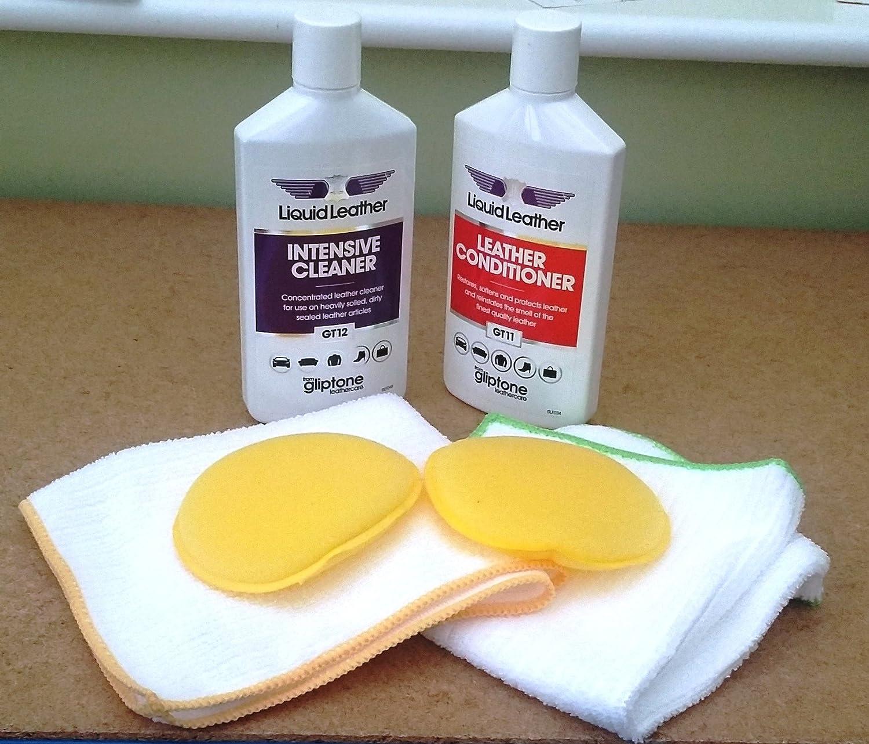 Gliptone - Kit de Limpieza de Piel y acondicionador para Asientos de Coche, Viene con 2 Almohadillas de aplicador y 2 gamuzas de Pulido de Microfibra